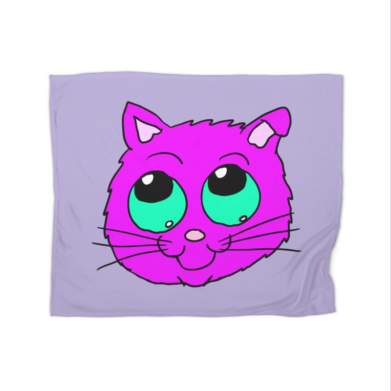 Green eyed Purple kitty head Home Blanket by ericallen's Artist Shop