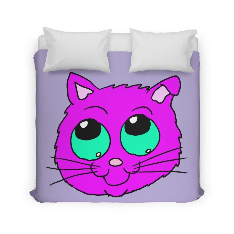 Green eyed Purple kitty head Home Duvet by ericallen's Artist Shop