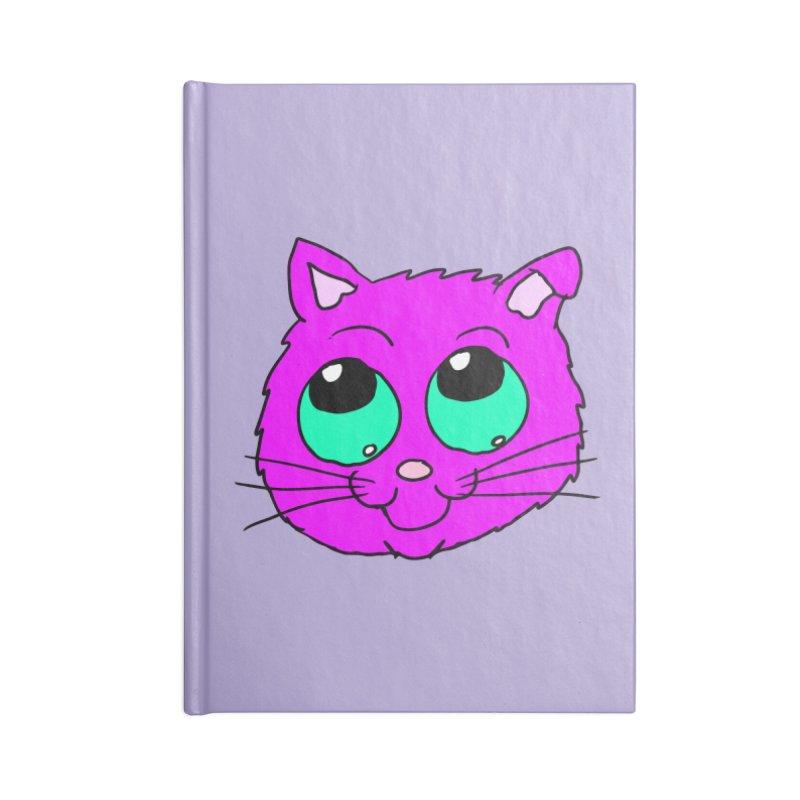 Green eyed Purple kitty head Accessories Notebook by ericallen's Artist Shop