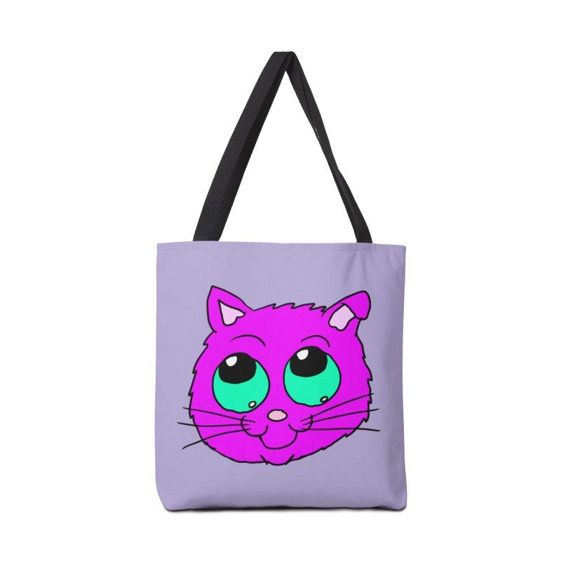 Green eyed Purple kitty head Accessories Bag by ericallen's Artist Shop