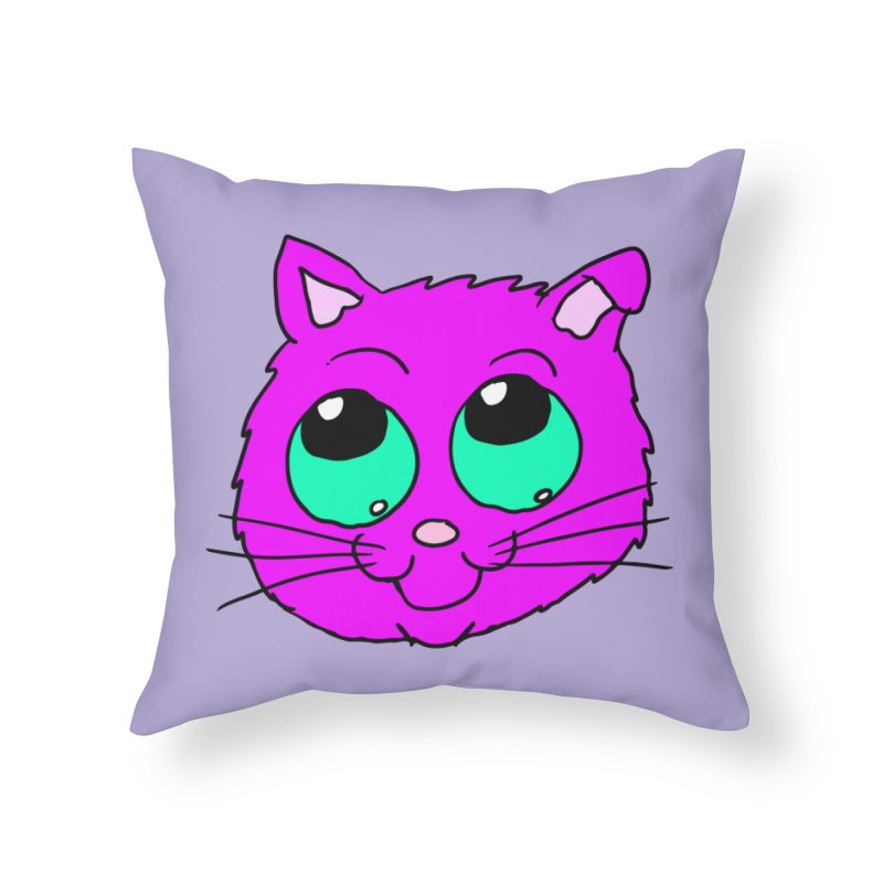 Green eyed Purple kitty head Home Throw Pillow by ericallen's Artist Shop