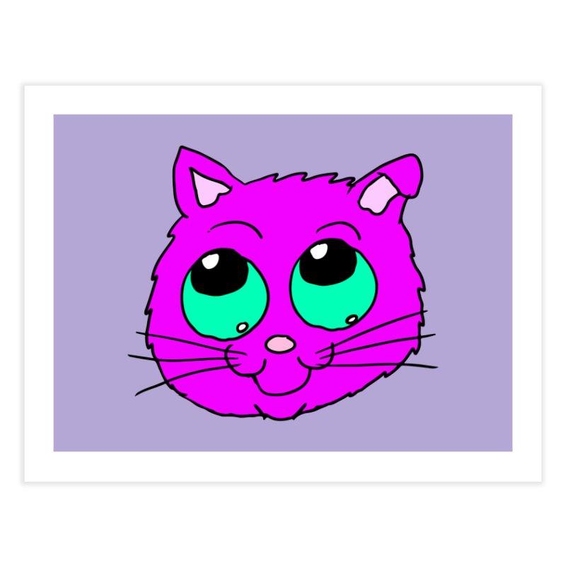 Green eyed Purple kitty head Home Fine Art Print by ericallen's Artist Shop
