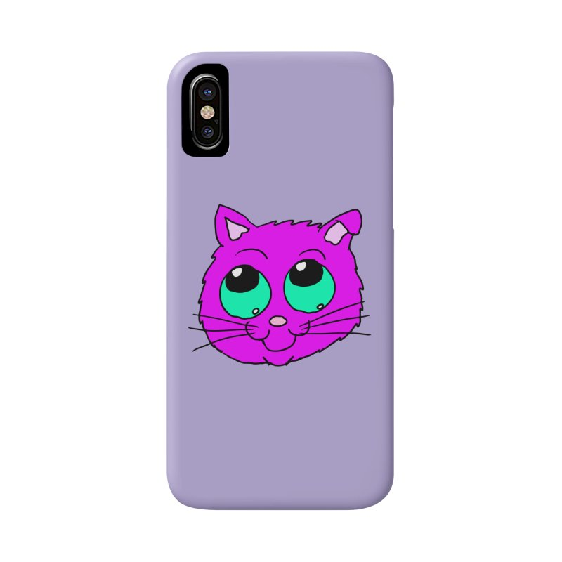 Green eyed Purple kitty head Accessories Phone Case by ericallen's Artist Shop