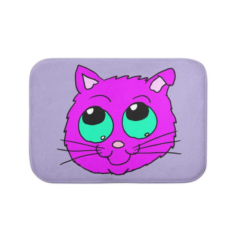 Green eyed Purple kitty head Home Bath Mat by ericallen's Artist Shop