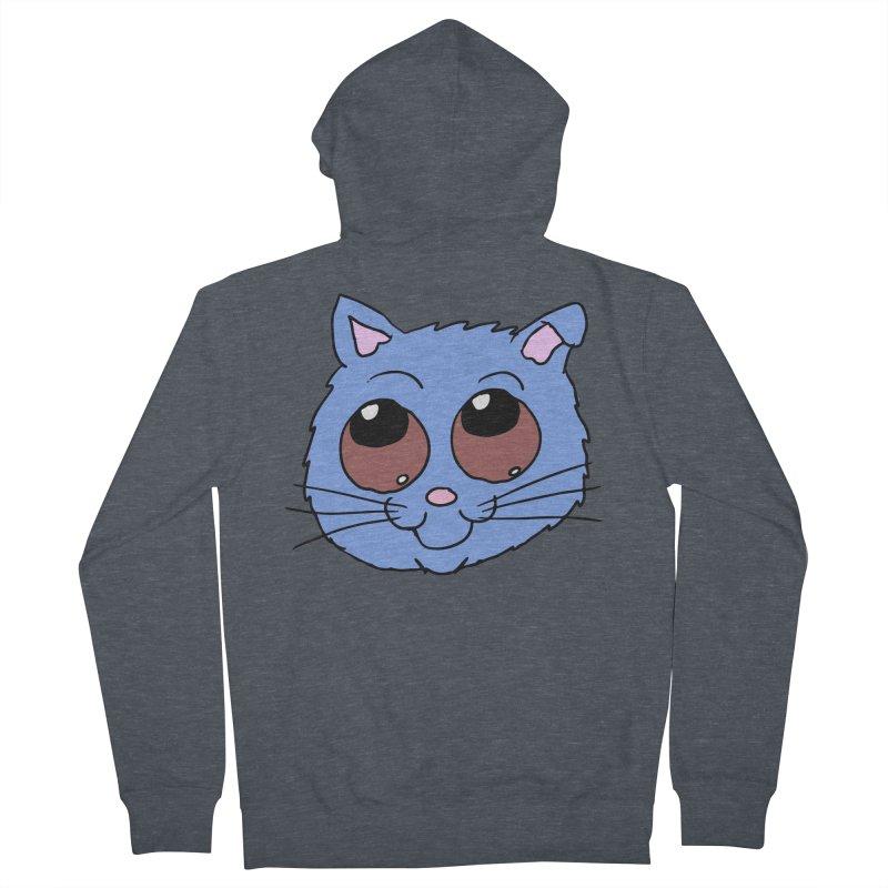 Blue Kitty head Men's Zip-Up Hoody by ericallen's Artist Shop