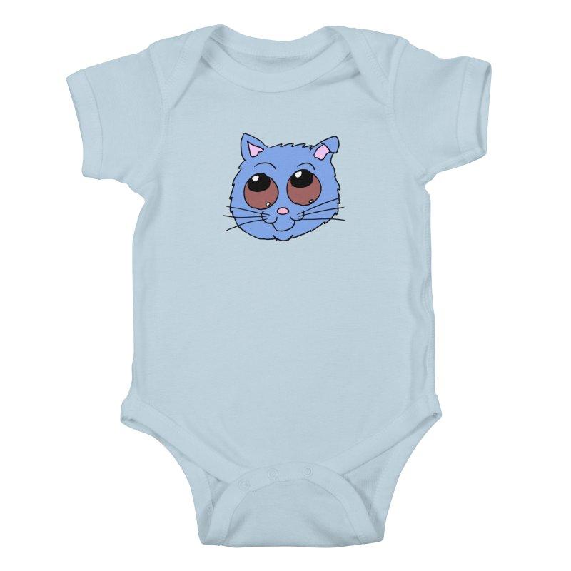 Blue Kitty head Kids Baby Bodysuit by ericallen's Artist Shop
