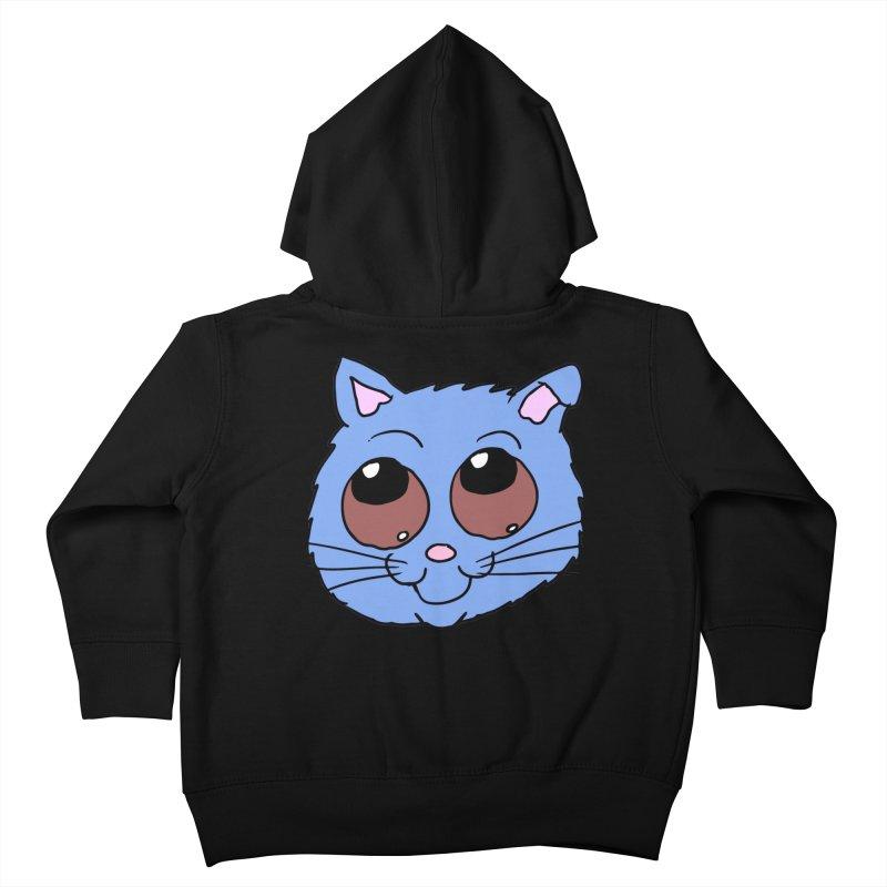 Blue Kitty head Kids Toddler Zip-Up Hoody by ericallen's Artist Shop