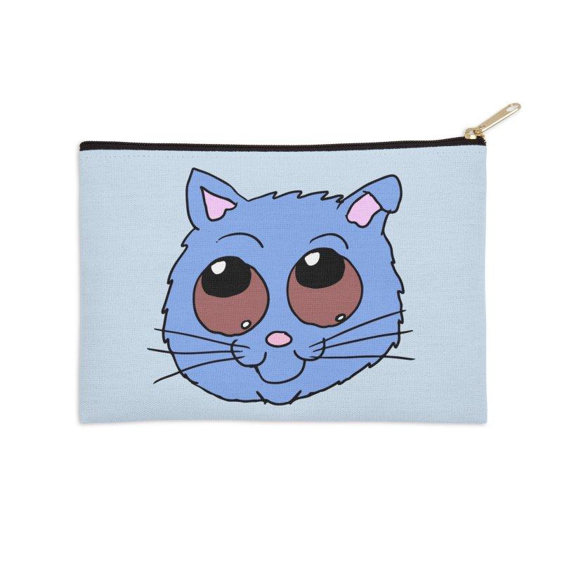 Blue Kitty head Accessories Zip Pouch by ericallen's Artist Shop