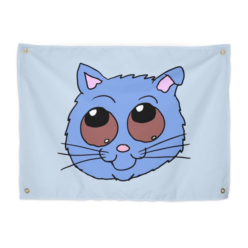 Blue Kitty head Home Tapestry by ericallen's Artist Shop