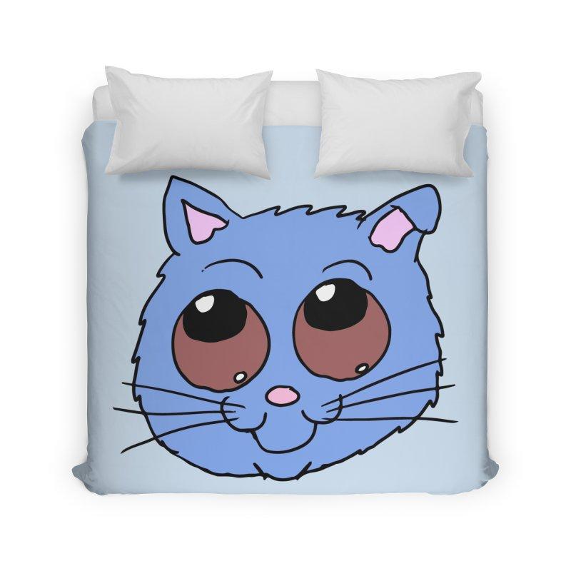 Blue Kitty head Home Duvet by ericallen's Artist Shop