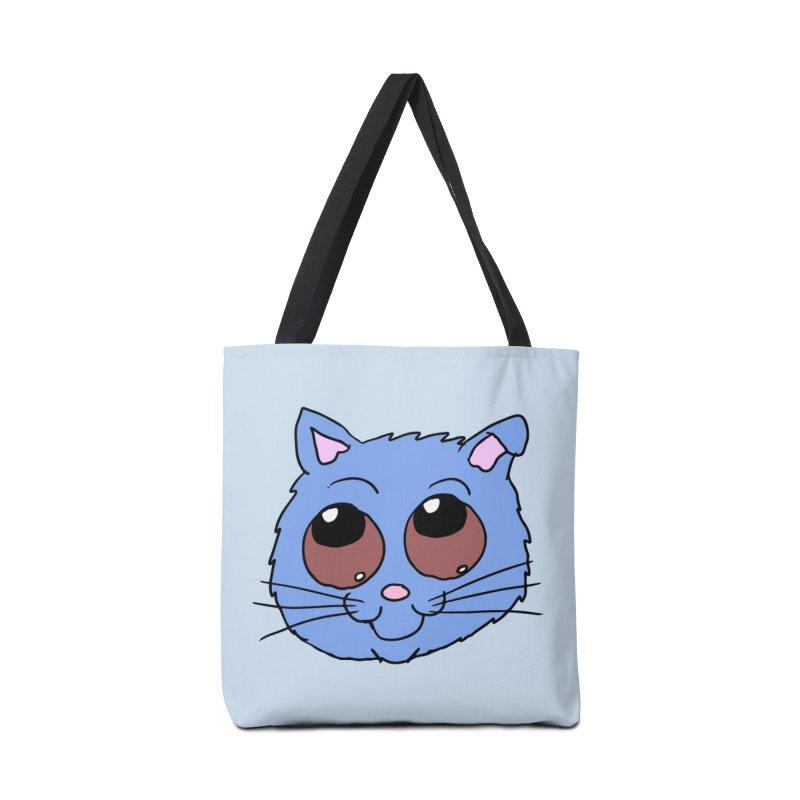 Blue Kitty head Accessories Bag by ericallen's Artist Shop