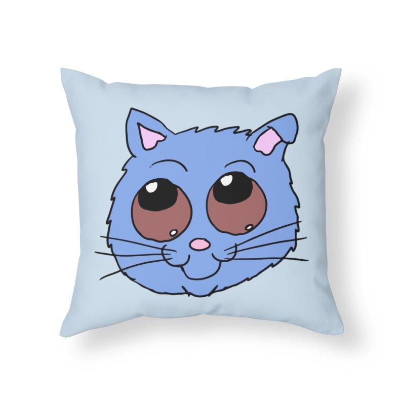 Blue Kitty head Home Throw Pillow by ericallen's Artist Shop
