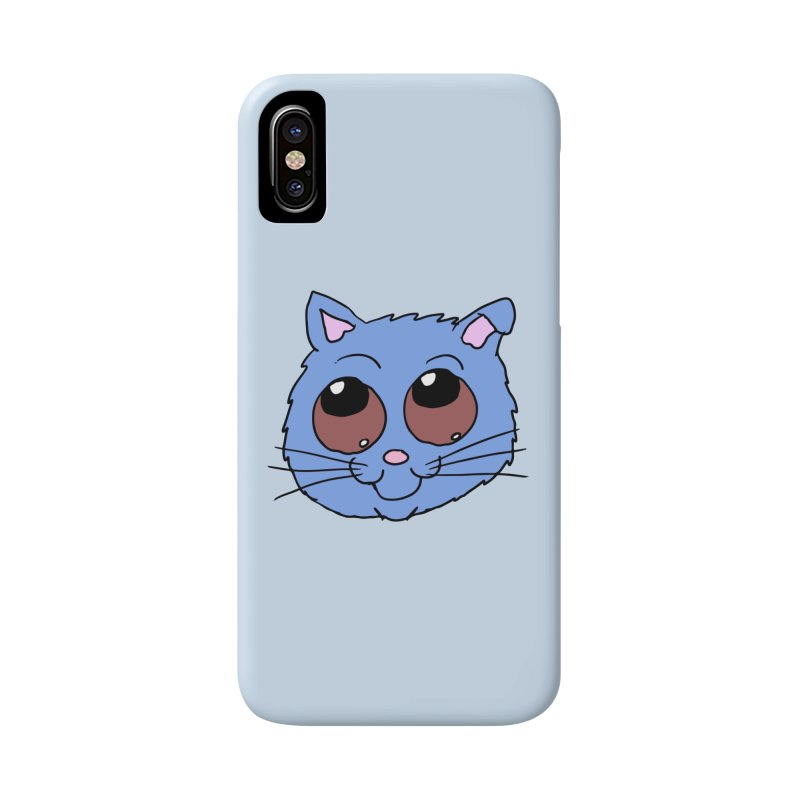 Blue Kitty head Accessories Phone Case by ericallen's Artist Shop
