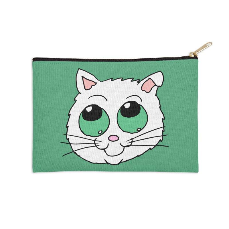 Green eyed Kitty Accessories Zip Pouch by ericallen's Artist Shop