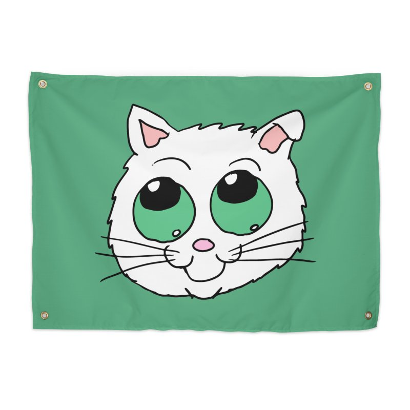 Green eyed Kitty Home Tapestry by ericallen's Artist Shop