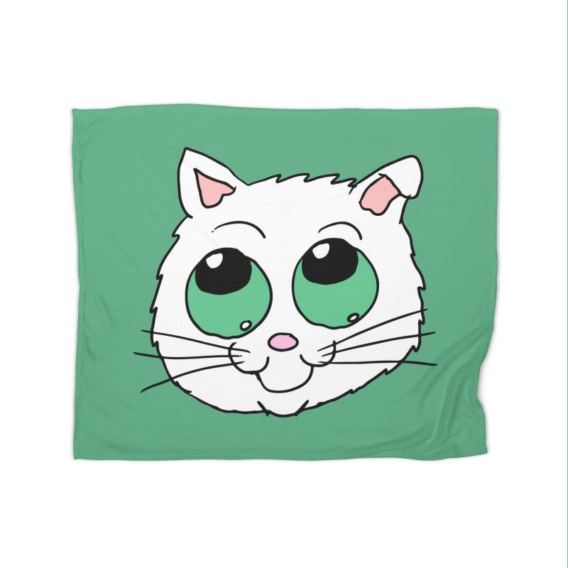 Green eyed Kitty Home Blanket by ericallen's Artist Shop