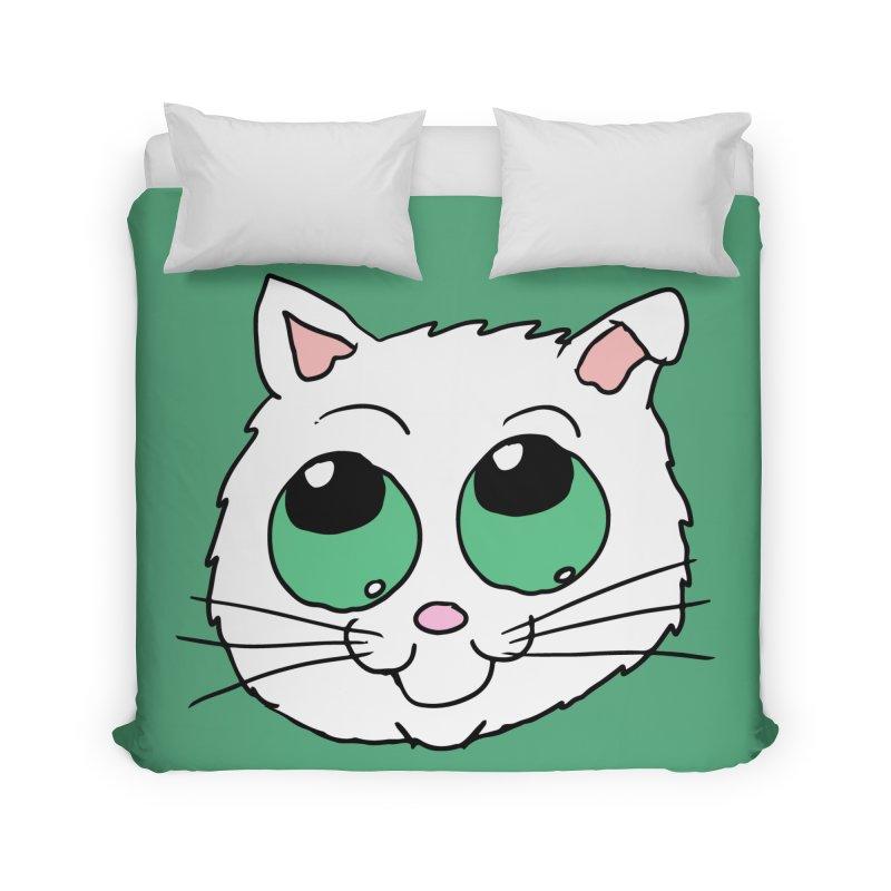 Green eyed Kitty Home Duvet by ericallen's Artist Shop
