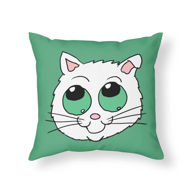 Green eyed Kitty Home Throw Pillow by ericallen's Artist Shop