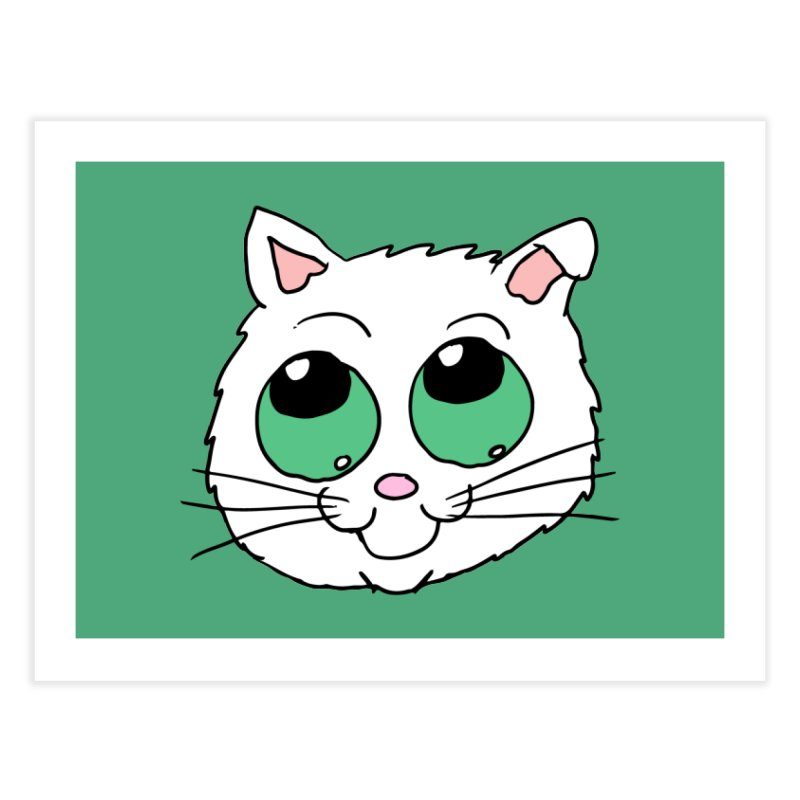 Green eyed Kitty Home Fine Art Print by ericallen's Artist Shop