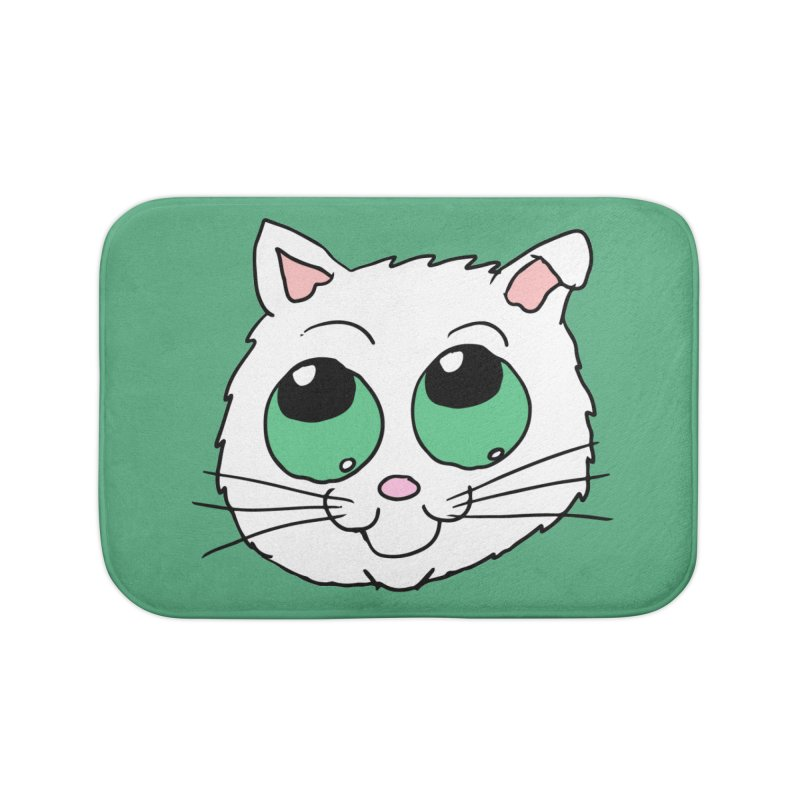 Green eyed Kitty Home Bath Mat by ericallen's Artist Shop