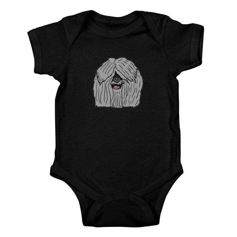 Sheepdog Head Kids Baby Bodysuit by ericallen's Artist Shop
