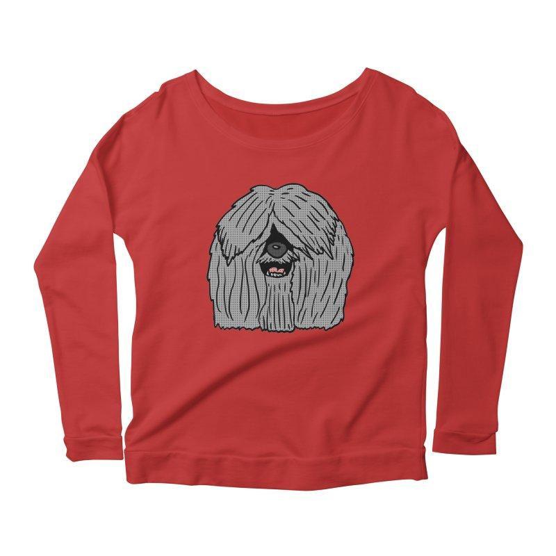 Sheepdog Head Women's Longsleeve Scoopneck  by ericallen's Artist Shop