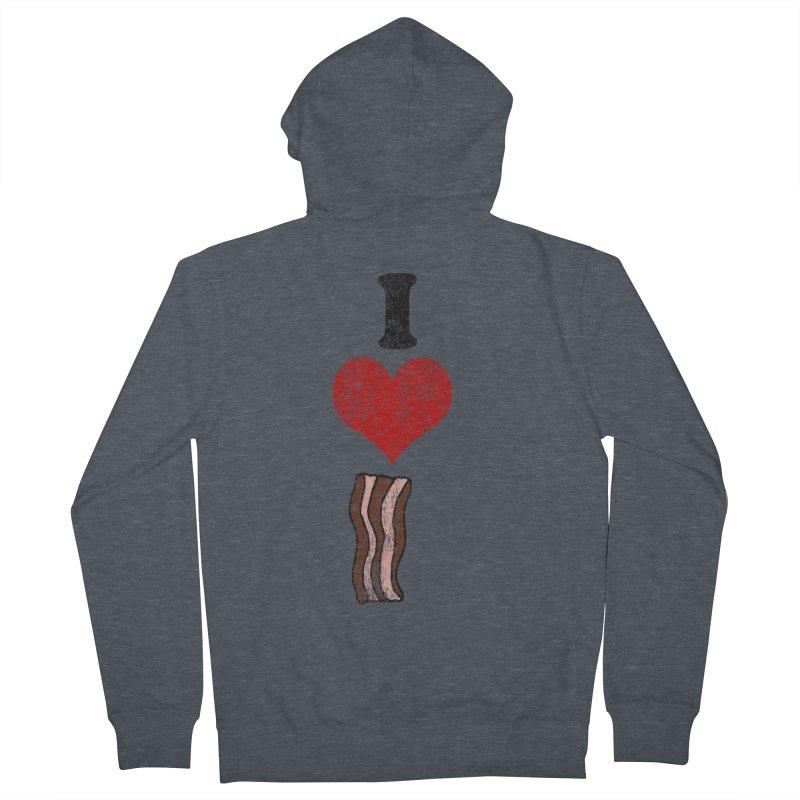 I Heart Bacon (vintage) Men's Zip-Up Hoody by ericallen's Artist Shop