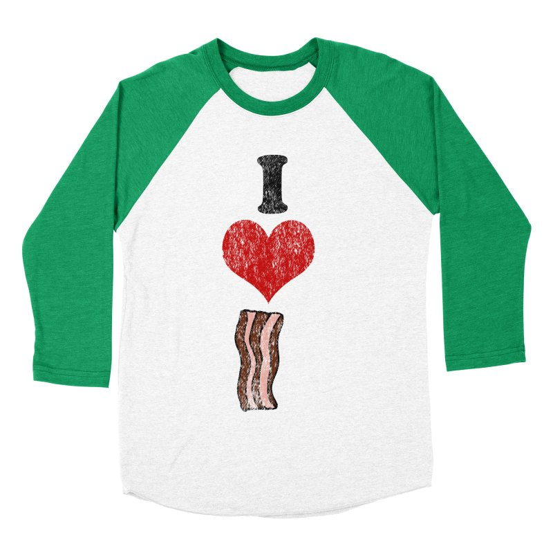 I Heart Bacon (vintage) Women's Baseball Triblend T-Shirt by ericallen's Artist Shop