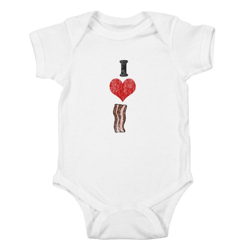 I Heart Bacon (vintage) Kids Baby Bodysuit by ericallen's Artist Shop