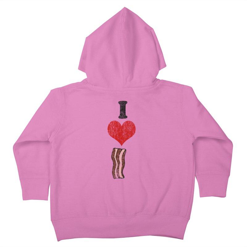 I Heart Bacon (vintage) Kids Toddler Zip-Up Hoody by ericallen's Artist Shop