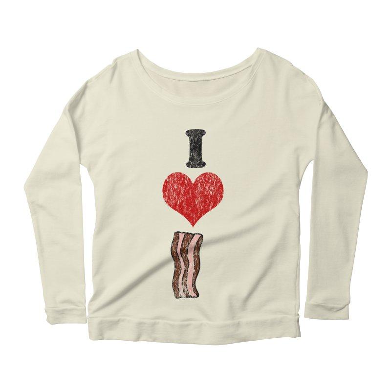 I Heart Bacon (vintage) Women's Longsleeve Scoopneck  by ericallen's Artist Shop