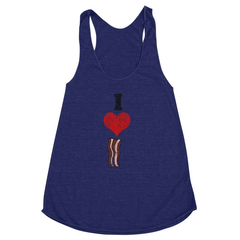 I Heart Bacon (vintage) Women's Racerback Triblend Tank by ericallen's Artist Shop