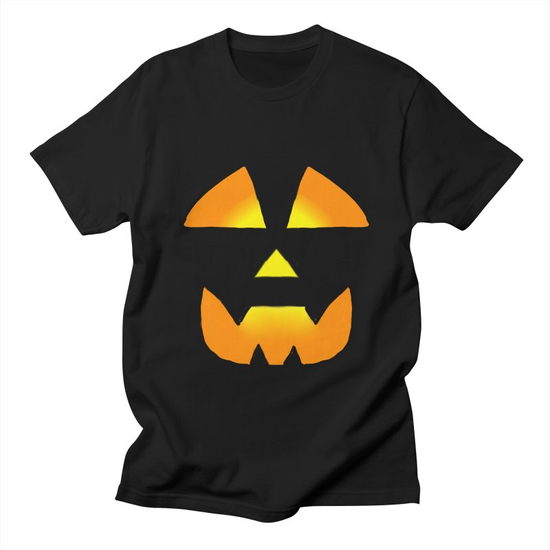 Glowing Jackolantern Face 2 in Men's Regular T-Shirt Black by ericallen's Artist Shop