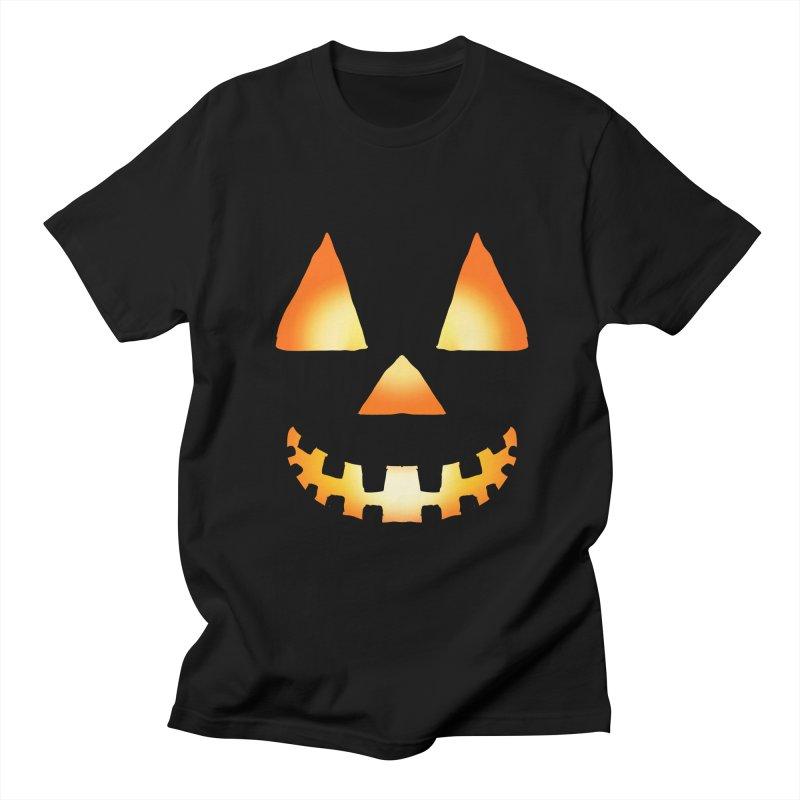 Glowing Jackolantern Face 3 in Men's Regular T-Shirt Black by ericallen's Artist Shop