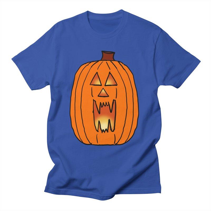 Glowing cartoon Jackolantern in Men's Regular T-Shirt Royal Blue by ericallen's Artist Shop