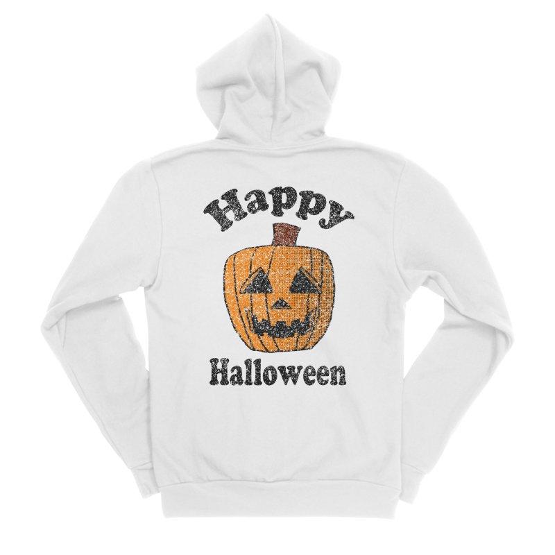 Vintage Happy Halloween Jackolantern in Men's Sponge Fleece Zip-Up Hoody White by ericallen's Artist Shop