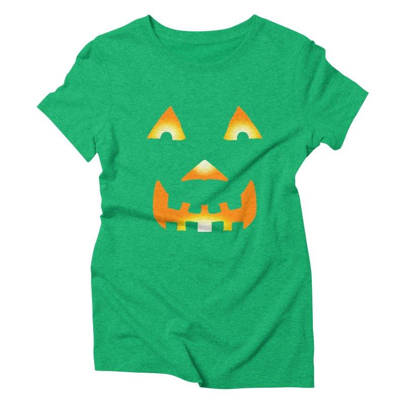 Glowing Jack O'lantern Face 1 Women's Triblend T-Shirt by ericallen's Artist Shop