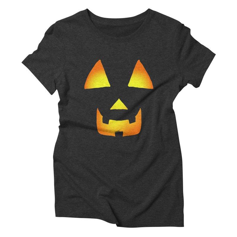 Glowing Jackolantern 01 Women's Triblend T-Shirt by ericallen's Artist Shop