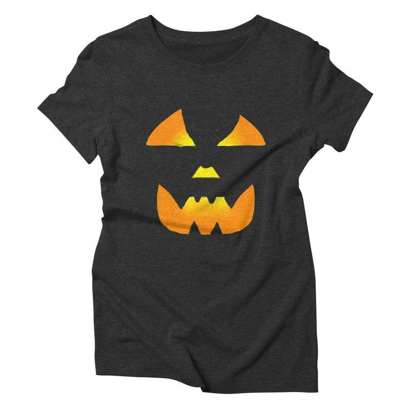 Glowing Jackolantern face 02 Women's Triblend T-Shirt by ericallen's Artist Shop