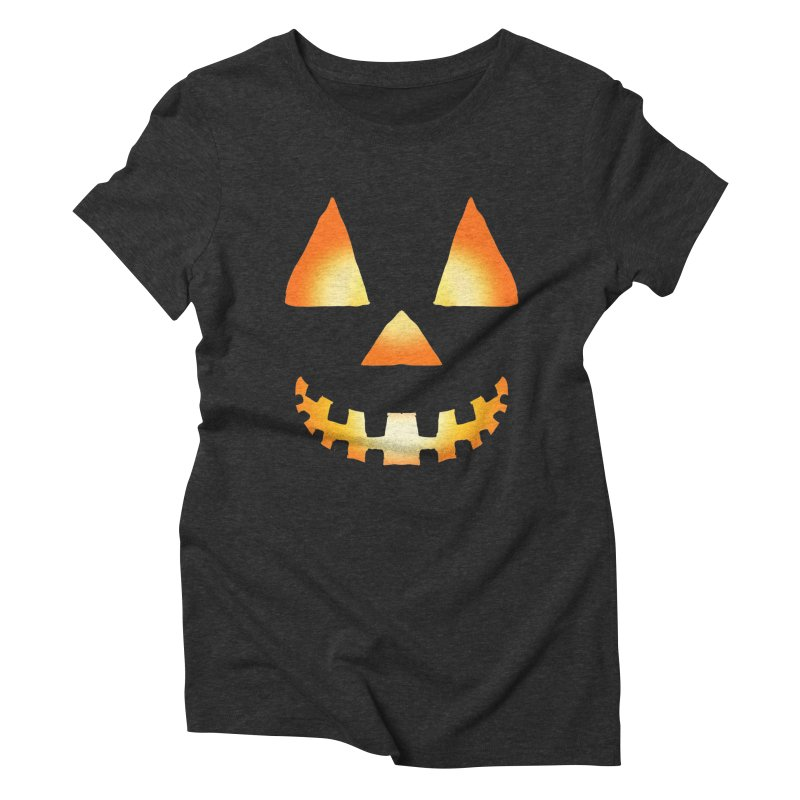 Glowing Jackolantern Face 03 Women's Triblend T-Shirt by ericallen's Artist Shop