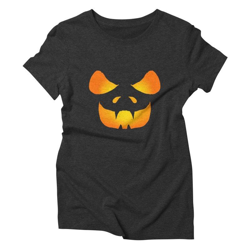 Evil Glowing Jackolantern Women's Triblend T-Shirt by ericallen's Artist Shop