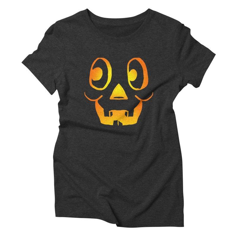 Funny Cartoon Jackolantern Face Women's Triblend T-Shirt by ericallen's Artist Shop