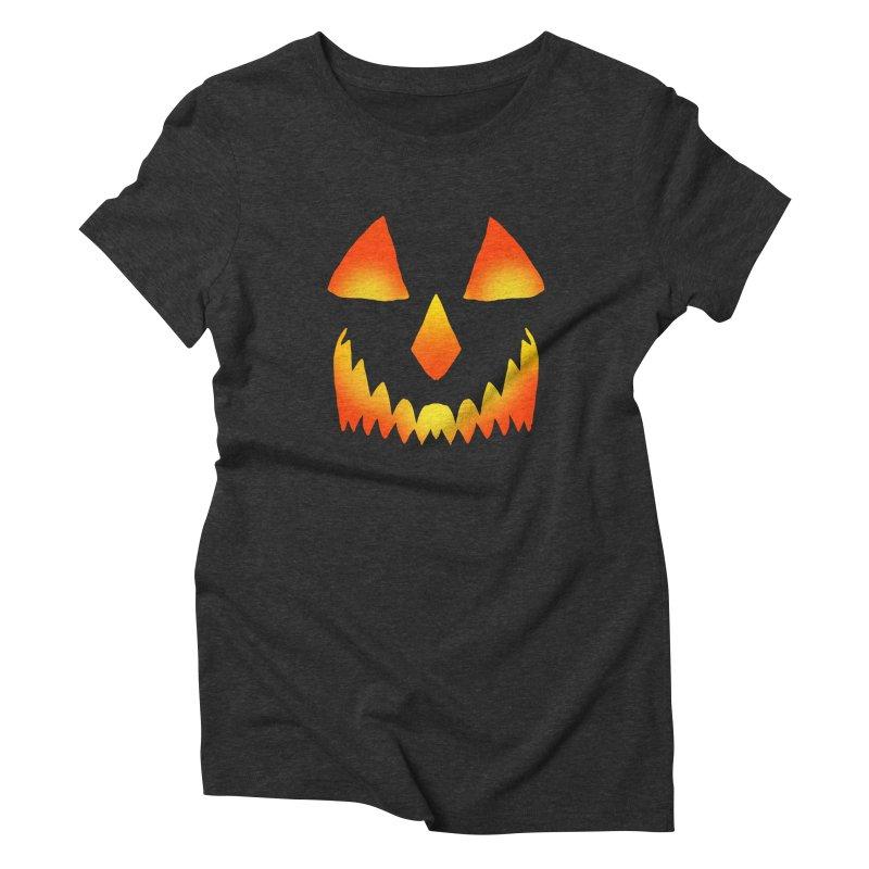 Evil Glowing Jackolantern Face Women's Triblend T-Shirt by ericallen's Artist Shop