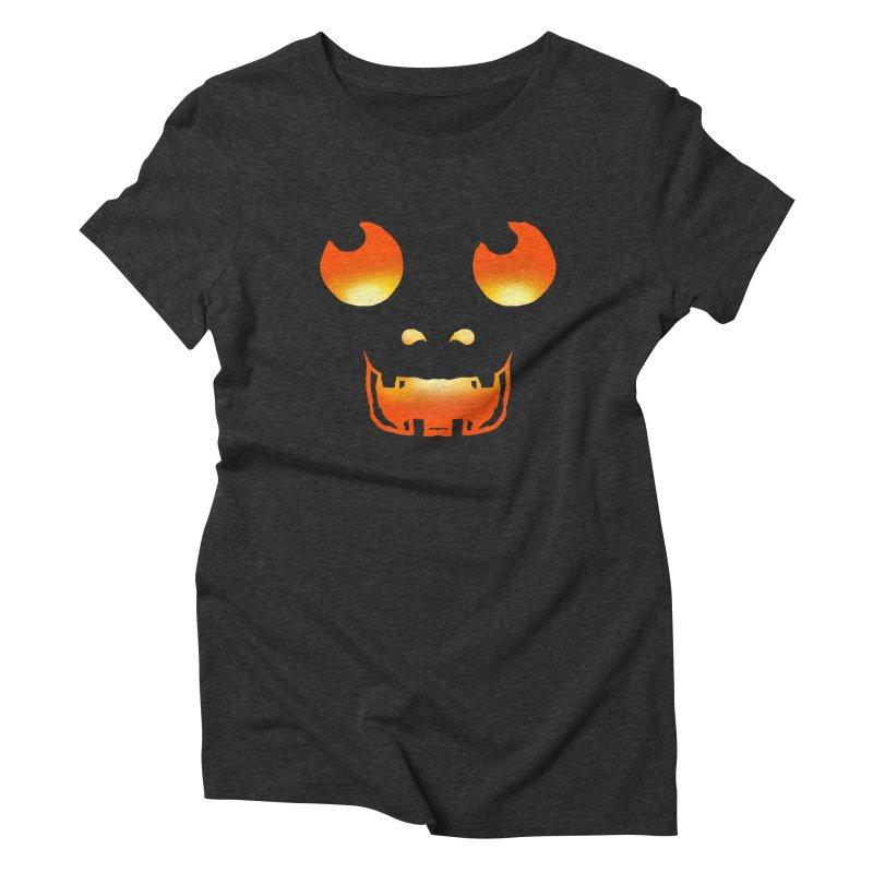 Cute glowing Jackolantern face Women's Triblend T-Shirt by ericallen's Artist Shop