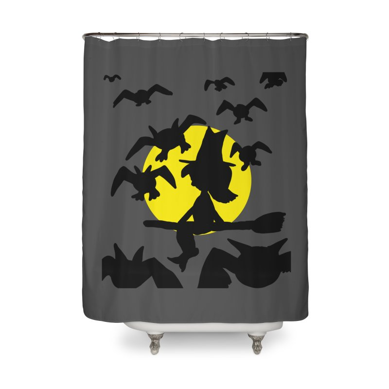 Witch and Bats Home Shower Curtain by ericallen's Artist Shop