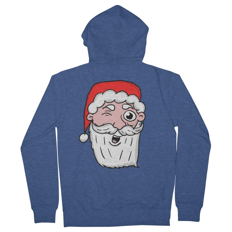 Winking Santa Men's French Terry Zip-Up Hoody by ericallen's Artist Shop