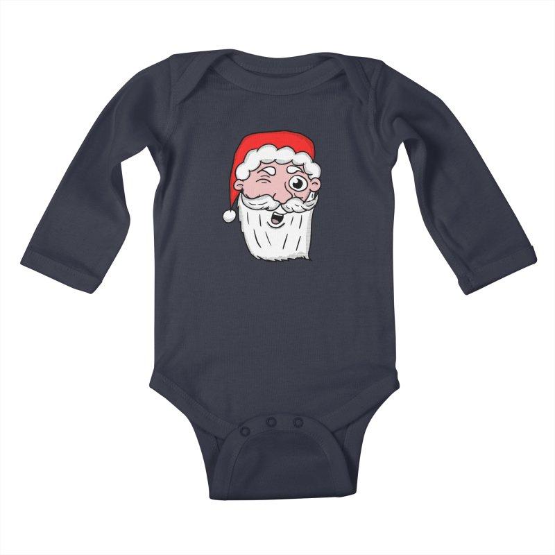 Winking Santa Kids Baby Longsleeve Bodysuit by ericallen's Artist Shop