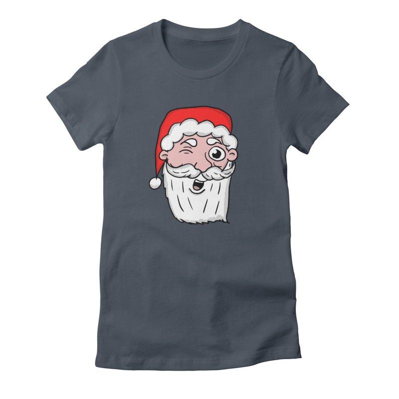 Winking Santa Women's Fitted T-Shirt by ericallen's Artist Shop