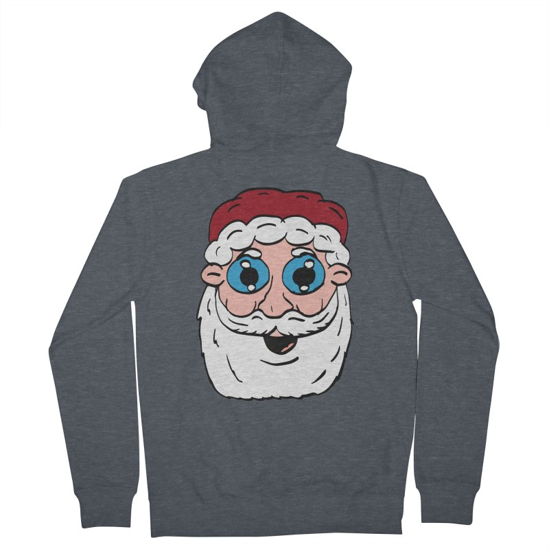 Cartoon Santa Head Women's French Terry Zip-Up Hoody by ericallen's Artist Shop