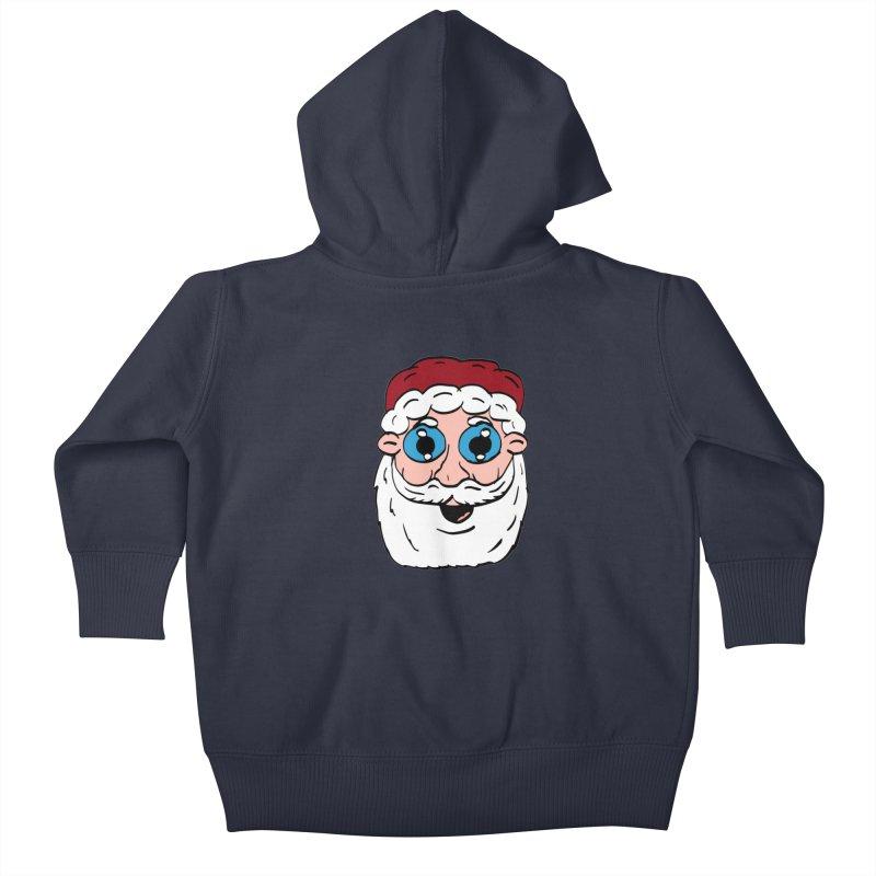 Cartoon Santa Head Kids Baby Zip-Up Hoody by ericallen's Artist Shop